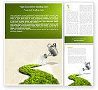 Nature & Environment: Green Path Word Template #04785