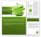Food & Beverage: Sliced Green Apple Word Template #04794