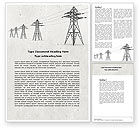 Technology, Science & Computers: Power Lines Word Template #04947