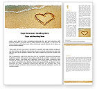 Holiday/Special Occasion: Heart On Sand Word Template #04969