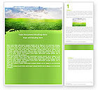 Agriculture and Animals: Aurora Over The Green Field Word Template #05135