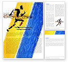 Sports: Running Athlete Word Template #05243