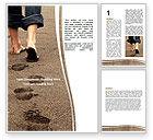 Religious/Spiritual: Sand Footprints Word Template #05834