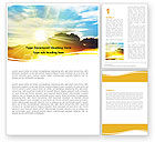 Nature & Environment: Sunset In Clouds Word Template #05874