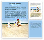 People: Baby on Beach Word Template #06064