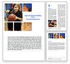 Sports: Women's Basketball in School Word Template #06084