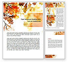 Nature & Environment: Yellow Oak Leaves Word Template #06189