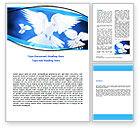 Religious/Spiritual: Flying Doves Word Template #06264
