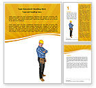 Careers/Industry: Builder With A Tool Belt Word Template #06296