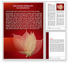 Nature & Environment: Red Dry Leaves Word Template #06399