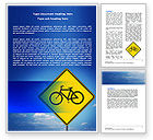 Cars/Transportation: Yellow Bicycle Road Word Template #06426