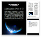 Technology, Science & Computers: Blue Sunset in Space Word Template #06527