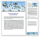 Financial/Accounting: Flying Dollars Word Template #06537