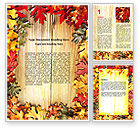 Holiday/Special Occasion: Autumn Leaves Frame Word Template #06644
