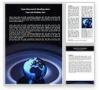 Global: Blue World Globe Word Template #06669