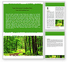 Nature & Environment: Green Woods Word Template #06679