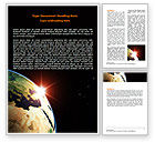 Global: Sunrise in Space Word Template #06729