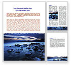 Nature & Environment: Calm Evening Shore Word Template #06743