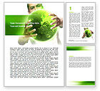 Nature & Environment: Green World in Human Hands Word Template #06955