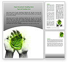 Nature & Environment: Glowing Leaf Word Template #06999