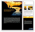 Nature & Environment: Sunset Beach Word Template #07211