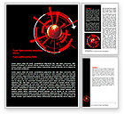 Business: Red Sphere On A Black Background Word Template #07458