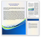 Construction: Blue Cityscape Word Template #07561