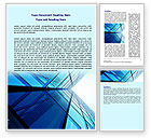 Construction: Blue Windows Of Skyscraper Word Template #07562