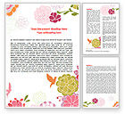 Nature & Environment: Pink Floral Theme Word Template #07650