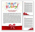 Holiday/Special Occasion: Happy Birthday Bow Word Template #07660