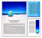 Nature & Environment: Globe On A Shore Word Template #07727