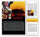 Flags/International: African Drum Word Template #07744