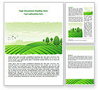 Agriculture and Animals: Green Hills Word Template #07809