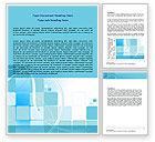 Business: Aqua Cubic Theme Word Template #07873
