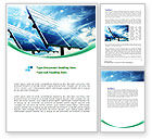 Technology, Science & Computers: Solar Panels In Blue Colors Word Template #08112