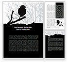 Agriculture and Animals: Bird on Branch Word Template #08131