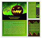 Holiday/Special Occasion: Jack-o-lantern On Scary Green Background Word Template #08224