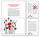 Art & Entertainment: Modèle Word de coquelicots stylés #08283