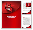 Business: Red Crystal Cube Word Template #08372