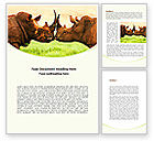 Agriculture and Animals: Two Rhinos Word Template #08438