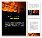Nature & Environment: Fire Fighting On Massive Fire Word Template #08472