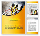 Nature & Environment: Firefighters with Firehose Word Template #08541