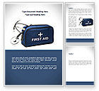 Medical: First Aid Kit Blue Box Word Template #08569