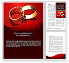Holiday/Special Occasion: Wedding Rings On A Bright Red Background Word Template #08582