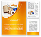 Medical: Bandage And Scissors Word Template #08613
