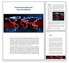 Global: Neon Light World Map Word Template #08740