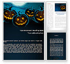 Holiday/Special Occasion: Blue Halloween Night Free Word Template #08867