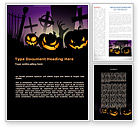 Holiday/Special Occasion: Free Violet Halloween Night Word Template #08868