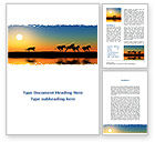 Nature & Environment: Savannah Sunset Word Template #08927