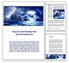 Nature & Environment: Navy Blue Sea Word Template #09113